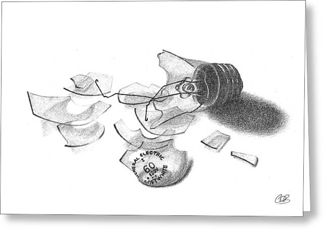 Broken Light Bulb Sketch Greeting Card by Conor O'Brien