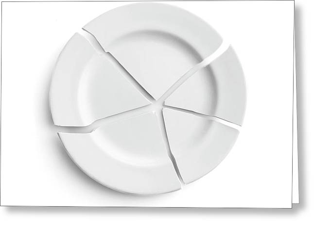 Broken Plate Greeting Card by Science Photo Library