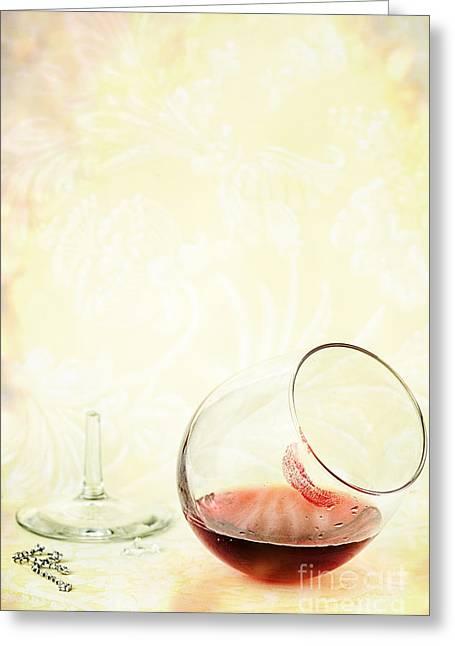 Broken Wine Glass Greeting Card by Stephanie Frey