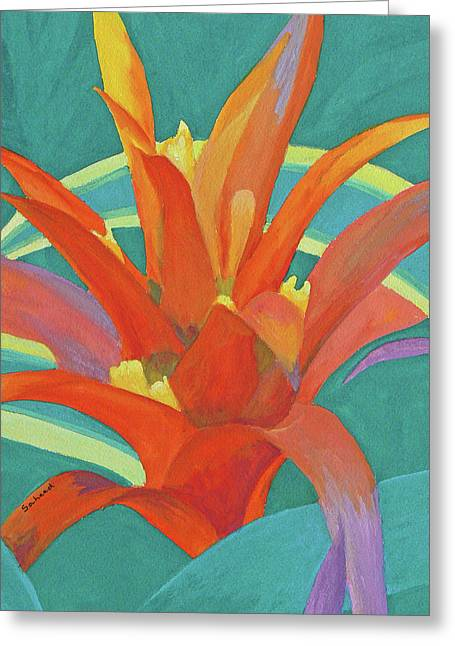 Greeting Card featuring the painting Bromeliad Glow by Margaret Saheed
