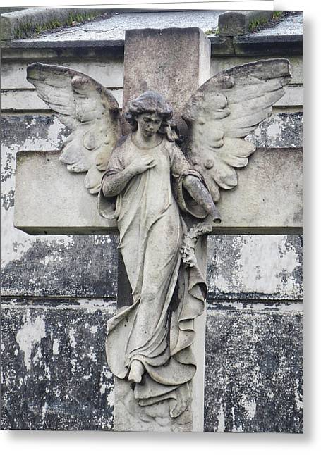 Brompton Cemetery Angel Greeting Card by Gia Marie Houck
