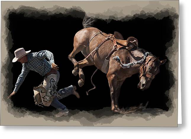 Bronco Busted Greeting Card by Daniel Hagerman