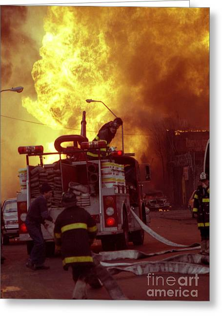 Greeting Card featuring the photograph Bronx Gas Explosion-1 by Steven Spak