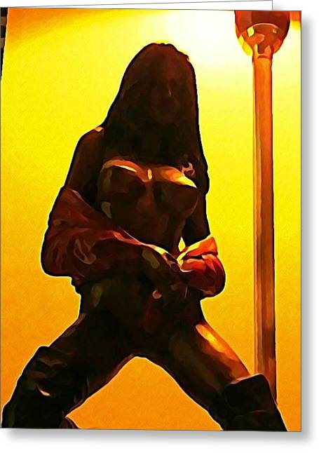 Bronze Cast Of Stripper With Lamp Pole  Greeting Card by John Malone