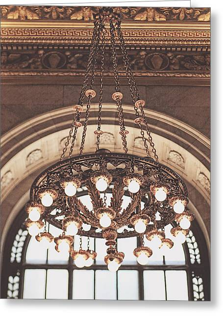 Bronze Chandelier Greeting Card by Heather Green
