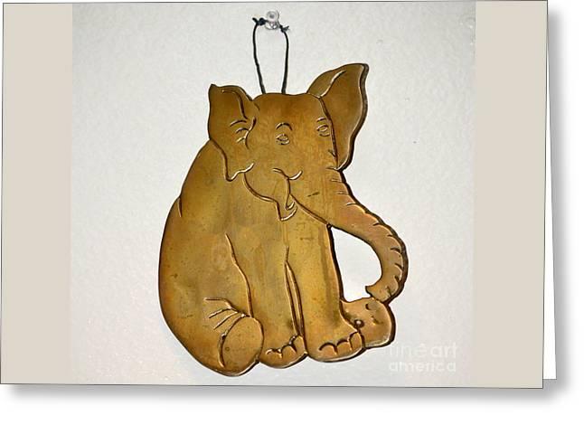 Bronze Elephant Trivet Greeting Card by Jay Milo