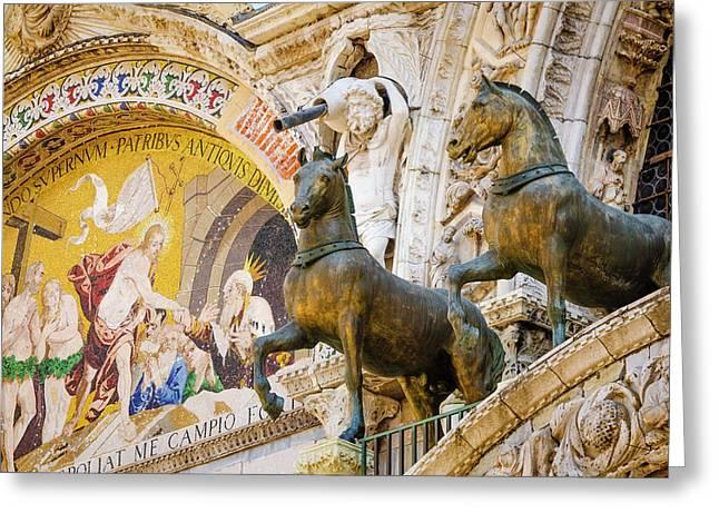Bronze Horses And Mosaic Greeting Card