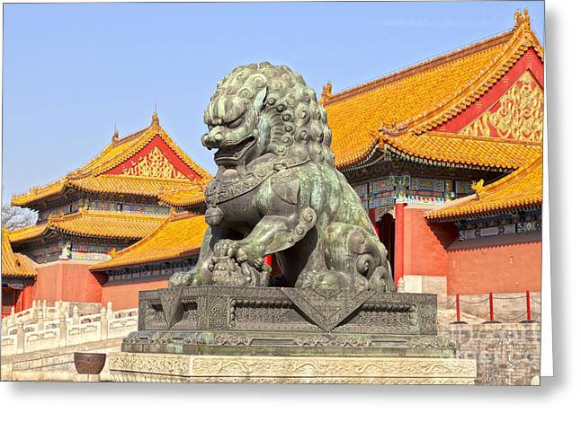 Bronze Lioness Forbidden City Beijing Greeting Card by Colin and Linda McKie