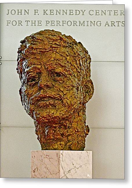 Bronze Sculpture Of President Kennedy In The Kennedy Center In Washington D C  Greeting Card