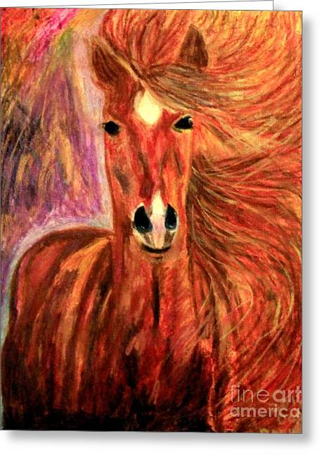 Bronze Star Mare Greeting Card by Debbie Davidsohn