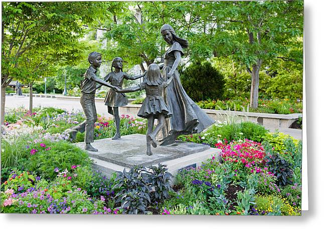 Bronze Statue Of Mother And Children Greeting Card