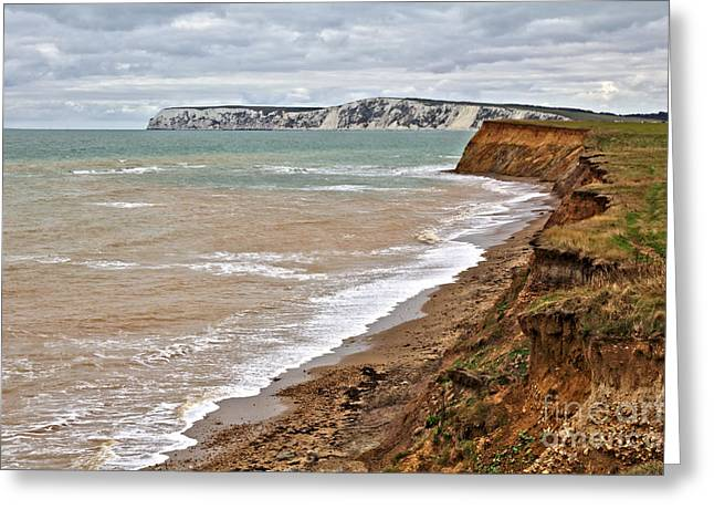 Greeting Card featuring the photograph Brook Bay And Chalk Cliffs by Jeremy Hayden