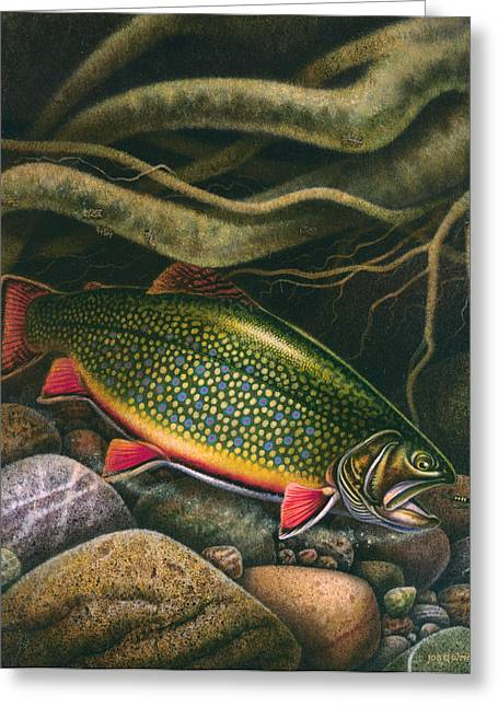 Brook Trout Lair Greeting Card by JQ Licensing