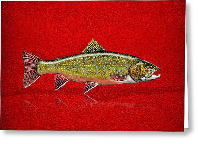 Brook Trout On Red Leather Greeting Card by Serge Averbukh