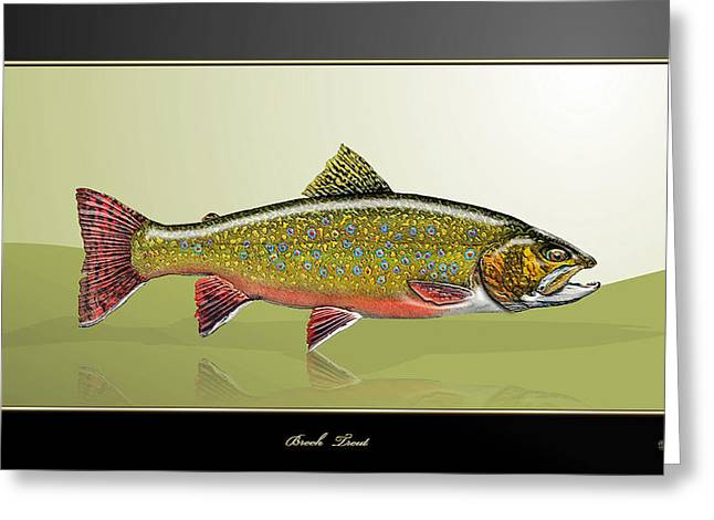 Brook Trout Greeting Card by Serge Averbukh