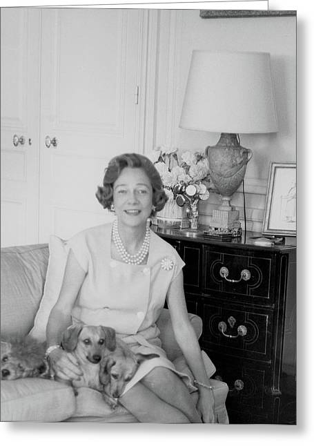 Brooke Astor With Dogs Greeting Card by Horst P. Horst