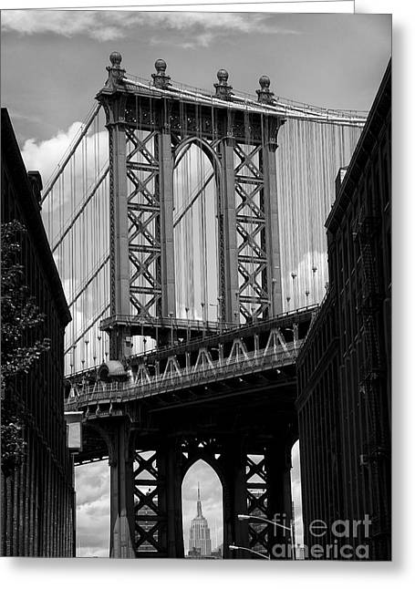 Manhattan Bridge Nyc Greeting Card by Peter Dang