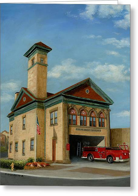Brookline Historical Engine House Greeting Card by Cecilia Brendel