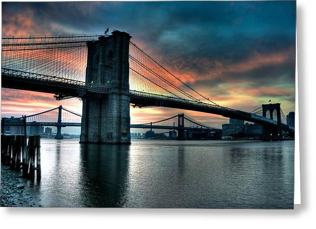 Brooklyn And Manhattan Bridges - Rosy Fingered Dawn Greeting Card by Mark Garbowski