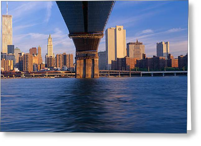 Brooklyn Bridge & Manhattan Skyline Greeting Card by Panoramic Images