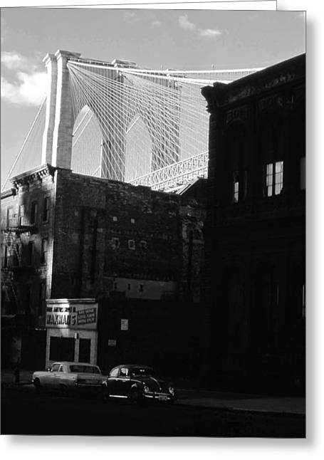 Greeting Card featuring the photograph Brooklyn Bridge 1970 by John Schneider