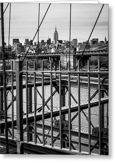 Brooklyn Bridge 2853 Bw Greeting Card by Deidre Elzer-Lento