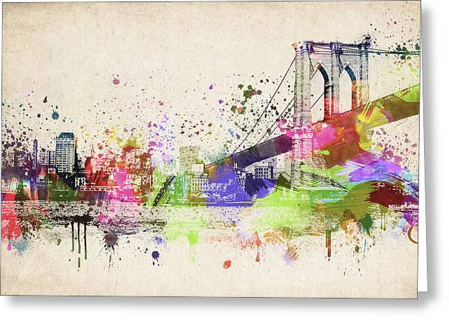 Brooklyn Bridge Greeting Card by Aged Pixel