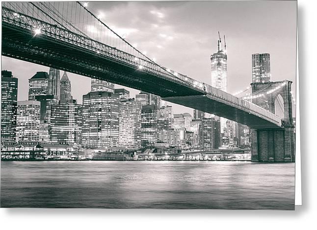 Brooklyn Bridge And New York City Skyline At Night Greeting Card