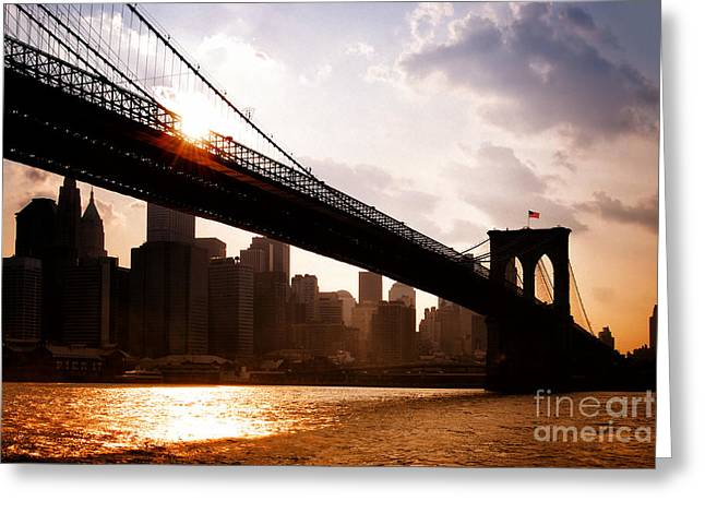 Brooklyn Bridge And Skyline Manhattan New York City Greeting Card
