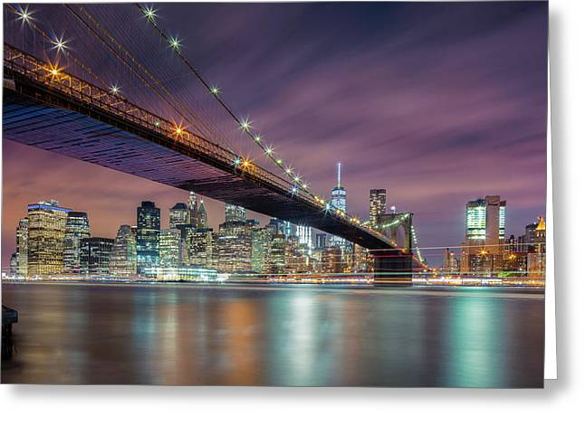 Brooklyn Bridge At Night Greeting Card