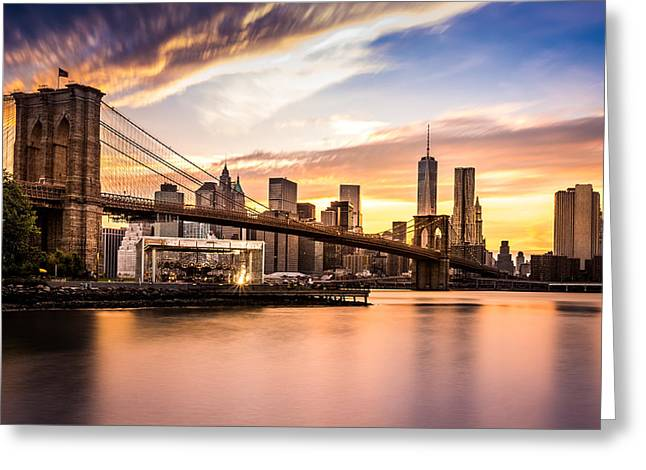 Brooklyn Bridge At Sunset  Greeting Card