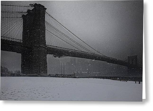 Brooklyn Bridge Blizzard Greeting Card