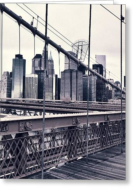 Brooklyn Bridge Greeting Card by CD Kirven