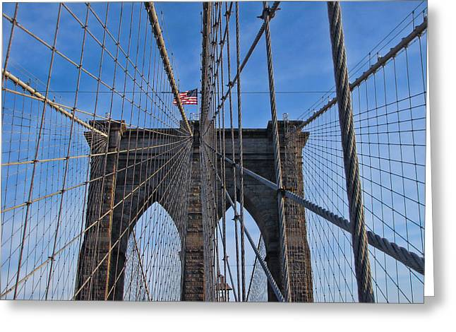 Greeting Card featuring the photograph Brooklyn Bridge by David Gleeson