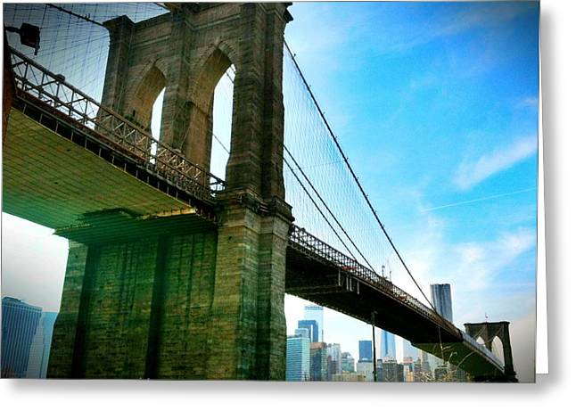 Brooklyn Bridge Glow Greeting Card by Frank Winters