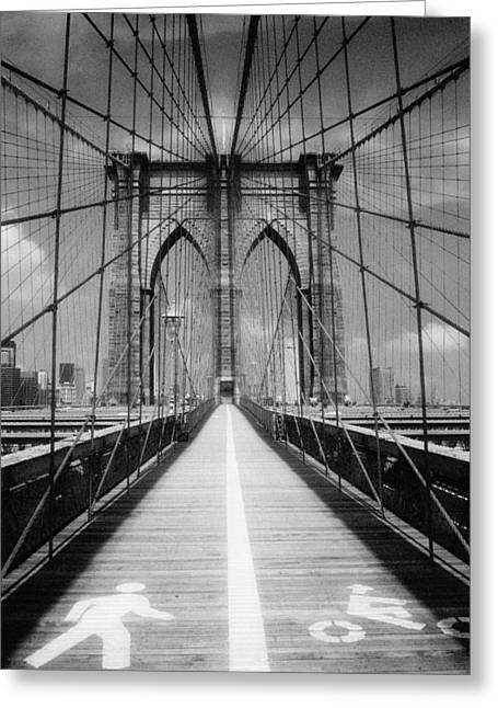 Greeting Card featuring the photograph Brooklyn Bridge Infrared by Dave Beckerman
