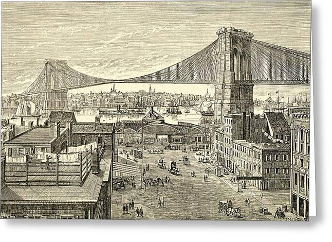 Brooklyn Bridge, New York, United States Of America In The 19th Century Greeting Card by American School