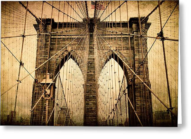 Brooklyn Bridge Nostalgia Greeting Card by Jessica Jenney