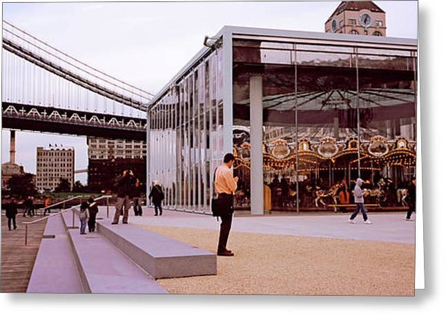 Brooklyn Bridge Park, Janes Carousel Greeting Card by Panoramic Images