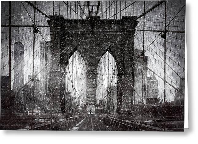 Brooklyn Bridge Snow Day Greeting Card by Chris Lord