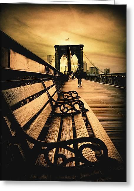 Brooklyn Bridge Sunset Greeting Card by Jessica Jenney