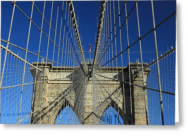 Greeting Card featuring the photograph Brooklyn Bridge Tower by Jose Oquendo