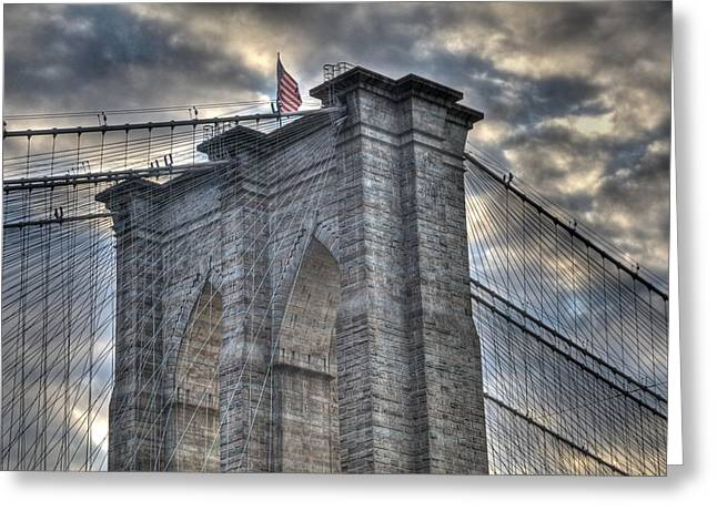 Brooklyn Bridge Tower Greeting Card