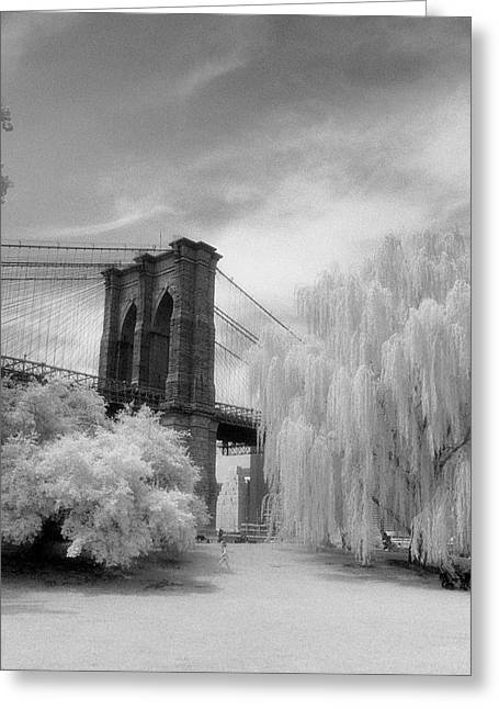 Greeting Card featuring the photograph Brooklyn Bridge Willows by Dave Beckerman