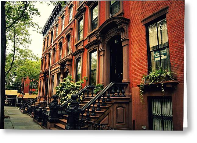 Brooklyn Brownstone - New York City Greeting Card by Vivienne Gucwa