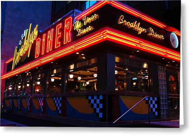 Greeting Card featuring the photograph Brooklyn Diner Usa by James Kirkikis