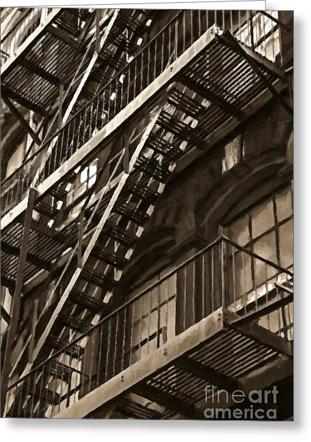 Brooklyn Fire Escapes Greeting Card by Diane Diederich