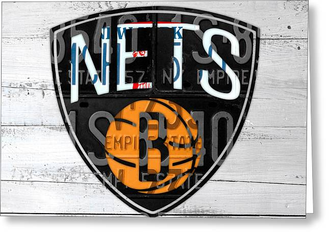 Brooklyn Nets Basketball Team Retro Logo Vintage Recycled New York License Plate Art Greeting Card by Design Turnpike