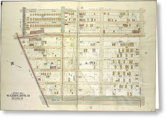 Brooklyn, Vol. 7, Double Page Plate No. 2 Part Of Wards 30 Greeting Card