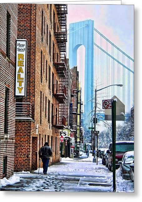 Brooklyn Walk Greeting Card by Terry Cork